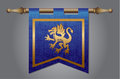 Medieval flag with dragon emblem gold and blue banner cloth texture and symbol of a Royalty Free Stock Photos