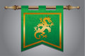 Medieval flag with dragon emblem gold and green banner cloth texture and symbol of a Royalty Free Stock Photography