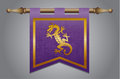 Medieval flag with dragon emblem gold and purple banner cloth texture and symbol of a Royalty Free Stock Photography