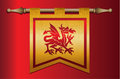 Medieval flag with dragon emblem gold and red banner cloth texture and symbol of a Stock Photo