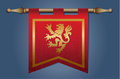 Medieval flag with dragon emblem gold and red banner cloth texture and symbol of a Royalty Free Stock Images