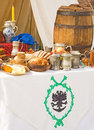 Medieval food and wine. Royalty Free Stock Image