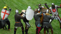 Medieval footed knights, fight Royalty Free Stock Photo