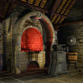 Medieval forge with tools and furnace Stock Images
