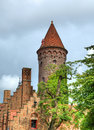 Medieval fortification in historical centre of brugge belgium in cloudy day Royalty Free Stock Photos