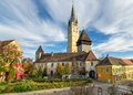 Medieval fortified church of medias transylvania one the best preserved historical centers in romania tower buglers Stock Images