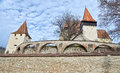 Medieval fortress fortified church with three protecting walls Stock Photos