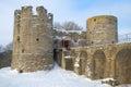 Medieval fortress Koporye closeup, cloudy February day. Leningrad region, Russia Royalty Free Stock Photo