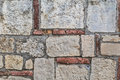 Medieval fortress stone brick rampart detail old made of carved and red Stock Photography