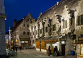 At the medieval fries joint ghent belgium march people standing in line night a french in historical groot vleeshuis building on Stock Images