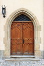 Medieval front door in prague czech republic Royalty Free Stock Photo