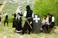 Medieval games the actors preparing for movie scene of knight battle practicing before filming scene Stock Photo