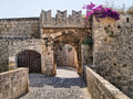 Medieval gate defensive in the fortifications of rhodes old town greece Royalty Free Stock Images