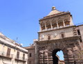 Medieval gate of palermo porta nuova in sicily italy Royalty Free Stock Photography