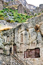 Medieval geghard monastery in armenia steps chapel and khachkar carved cross stones Stock Image