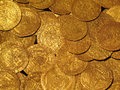 Medieval Gold Coins Treasure Stock Photos