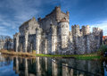 Medieval gravensteen castle in ghent belgium the the dukes and knights of flanders had their residence it during the middle Stock Photo