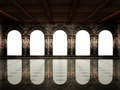 Medieval hall and arches Royalty Free Stock Photo