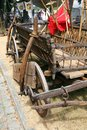 Medieval hay wagon a with fork Royalty Free Stock Photos