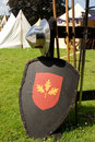 Medieval Helmet and Shield Stock Photography