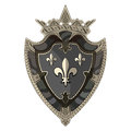 Medieval heraldic knight shield with crown and heraldic Lily Royalty Free Stock Photo