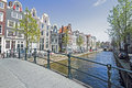 Medieval houses along the canal in Amsterdam Netherlands Royalty Free Stock Photo