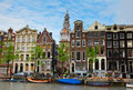 Medieval houses of Amsterdam, Netherlands Royalty Free Stock Images