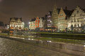 Medieval houses in ghent belgium nov night view of the graslei is a town the east flanders region of belgium the graslei Royalty Free Stock Images