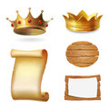Medieval icons. Gold crown, scroll and signboard. Illustration vector.
