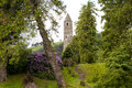 Medieval irish tower ruins scenic of a stone at glendalough county wicklow ireland Royalty Free Stock Photography