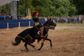 Medieval joust moscow russia – june times and epoch festival in kolomenskoye park the middle ages srednevekove knight on a horse Royalty Free Stock Photo
