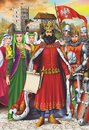 Medieval king and retinue european royal with castle in background vertical artistic illustration Royalty Free Stock Photos