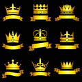 Medieval king tiaras, gold crowns and ribbon banner vector set