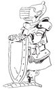 Medieval knight in armor with a shield cartoon drawing Royalty Free Stock Image