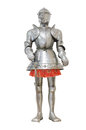 Medieval knight armour over white isolated background Royalty Free Stock Photo