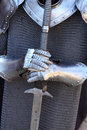Medieval knight closeup of armament Royalty Free Stock Photo