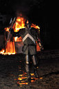 Medieval knight from fire during performances Royalty Free Stock Images