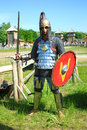 Medieval knight in full armor Royalty Free Stock Photos