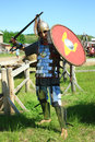 Medieval knight in full armor Stock Images