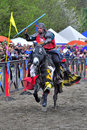 Medieval knight on horseback in a tournamant Royalty Free Stock Image