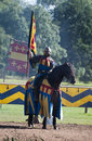 Medieval Knight on Horseback at Warwick Castle Stock Image