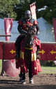 Medieval Knight on Horseback at Warwick Castle Royalty Free Stock Photos