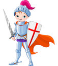 Medieval knight illustration of brave little Stock Images