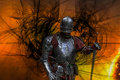 Medieval knight lucifer the dark lord of hell with black wings Stock Photos