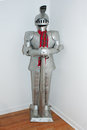 Medieval knight s suit of armor and helmet closeup a Royalty Free Stock Photography