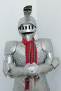 Medieval knight s suit of armor and helmet closeup a Stock Image