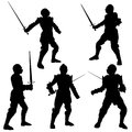 Medieval knight silhouettes silhouette illustrations of a in armour with a sword on a white background Stock Image