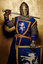 Medieval knight with a sword behind his back Royalty Free Stock Images