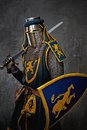 Medieval knight with sword on his shoulder Stock Photos