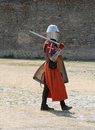 Medieval Knight walking. Royalty Free Stock Photo